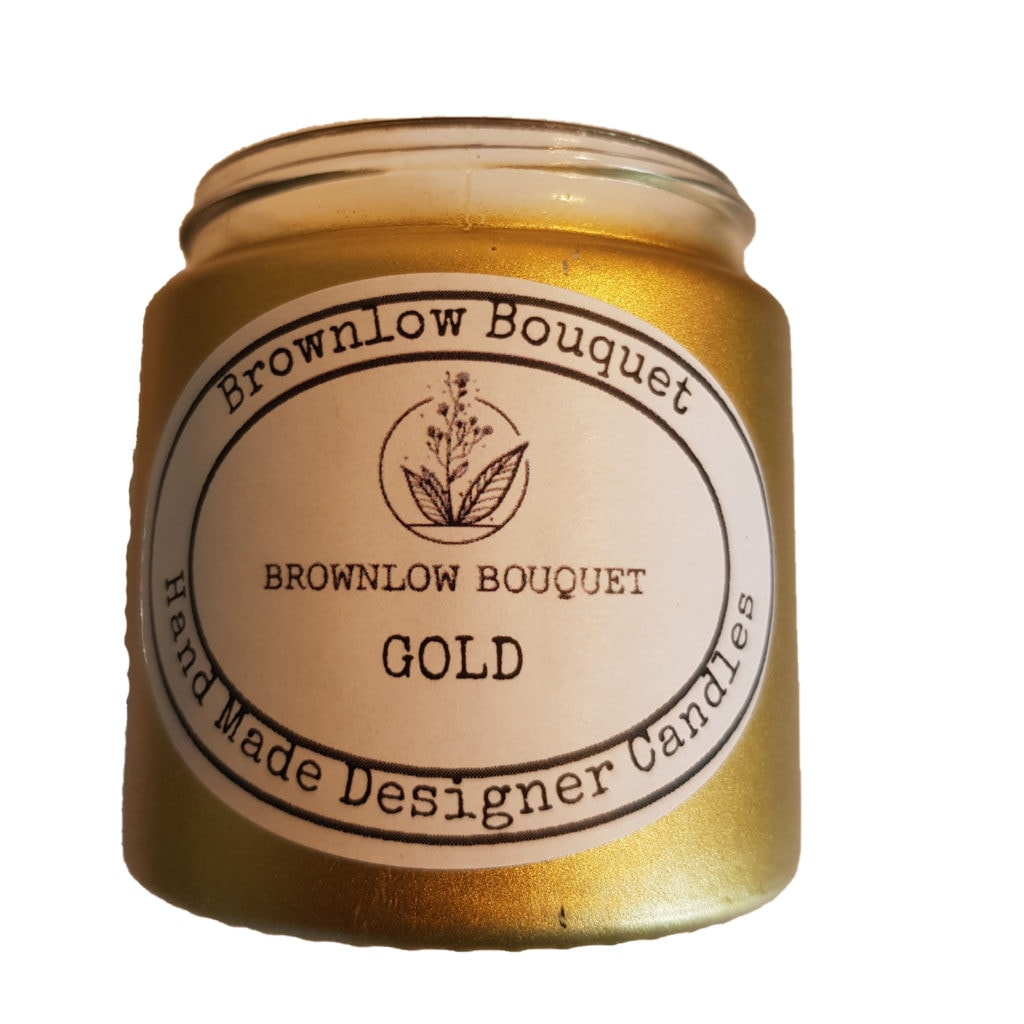 Custom Colour Gloss Opaque Gold Jar with Label